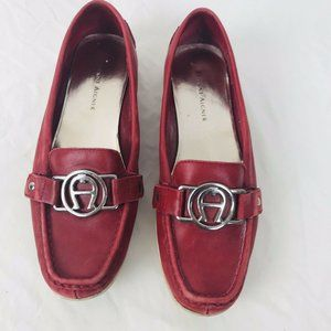 Etienne Aigner Leather Slip On Loafers Red Size 6